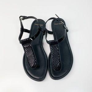 Cole Haan black snake skin embossed thong sandals